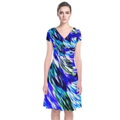 Abstract Background Blue White Short Sleeve Front Wrap Dress