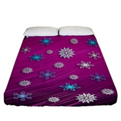 Snowflakes 3d Random Overlay Fitted Sheet (california King Size)