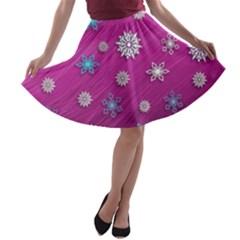 Snowflakes 3d Random Overlay A Line Skater Skirt