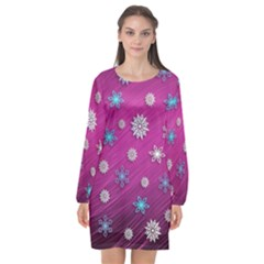 Snowflakes 3d Random Overlay Long Sleeve Chiffon Shift Dress