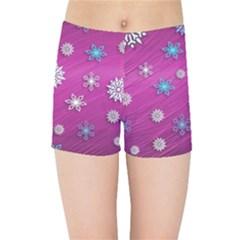 Snowflakes 3d Random Overlay Kids Sports Shorts