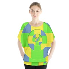 Fabric 3d Geometric Circles Lime Blouse