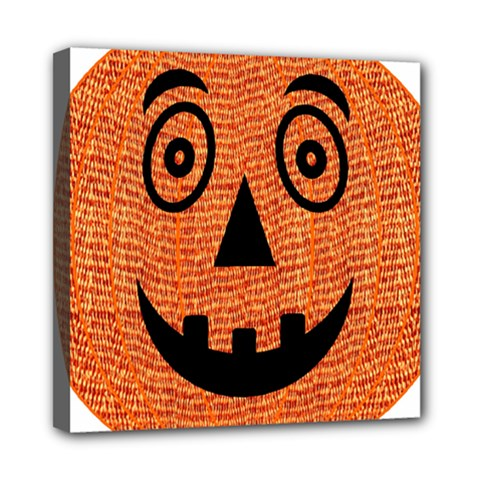 Fabric Halloween Pumpkin Funny Mini Canvas 8  X 8