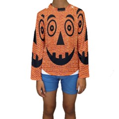 Fabric Halloween Pumpkin Funny Kids  Long Sleeve Swimwear