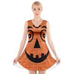 Fabric Halloween Pumpkin Funny V Neck Sleeveless Skater Dress