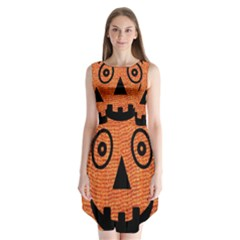 Fabric Halloween Pumpkin Funny Sleeveless Chiffon Dress