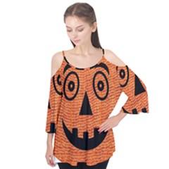 Fabric Halloween Pumpkin Funny Flutter Tees