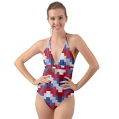 Texture Textile Surface Fabric Halter Cut Out One Piece Swimsuit