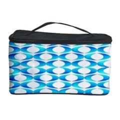 Fabric Geometric Aqua Crescents Cosmetic Storage Case
