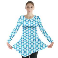 Fabric Geometric Aqua Crescents Long Sleeve Tunic