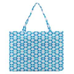 Fabric Geometric Aqua Crescents Zipper Medium Tote Bag