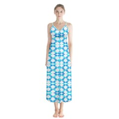 Fabric Geometric Aqua Crescents Button Up Chiffon Maxi Dress