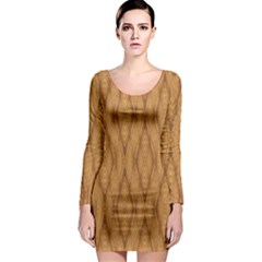 Wood Background Backdrop Plank Long Sleeve Bodycon Dress