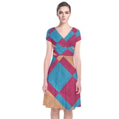 Fabric Textile Cloth Material Short Sleeve Front Wrap Dress