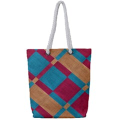 Fabric Textile Cloth Material Full Print Rope Handle Tote (small)