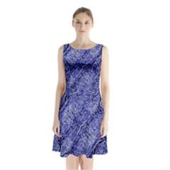 Texture Blue Neon Brick Diagonal Sleeveless Waist Tie Chiffon Dress