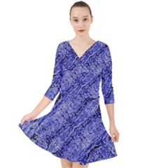 Texture Blue Neon Brick Diagonal Quarter Sleeve Front Wrap Dress