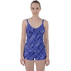 Texture Blue Neon Brick Diagonal Tie Front Two Piece Tankini