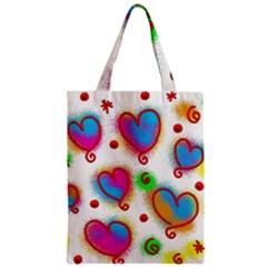 Love Hearts Shapes Doodle Art Zipper Classic Tote Bag
