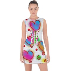Love Hearts Shapes Doodle Art Lace Up Front Bodycon Dress