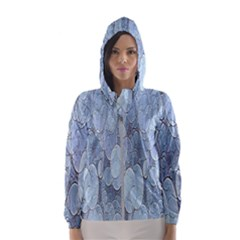Bubbles Texture Blue Shades Hooded Wind Breaker (women)