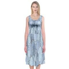 Bubbles Texture Blue Shades Midi Sleeveless Dress