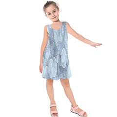 Bubbles Texture Blue Shades Kids  Sleeveless Dress
