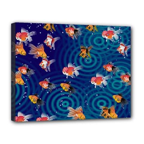 Fish Swim In The Ocean Canvas 14  X 11