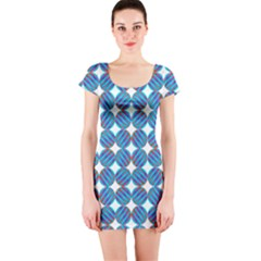 Geometric Dots Pattern Rainbow Short Sleeve Bodycon Dress
