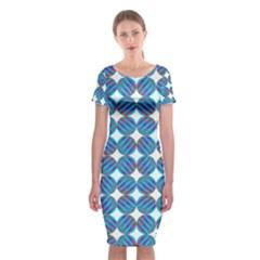 Geometric Dots Pattern Rainbow Classic Short Sleeve Midi Dress