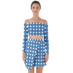 Geometric Dots Pattern Rainbow Off Shoulder Top With Skirt Set