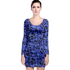 Texture Structure Electric Blue Long Sleeve Bodycon Dress