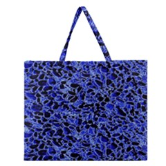 Texture Structure Electric Blue Zipper Large Tote Bag