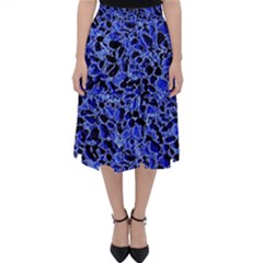 Texture Structure Electric Blue Folding Skater Skirt