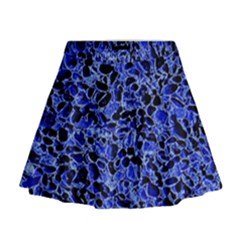 Texture Structure Electric Blue Mini Flare Skirt