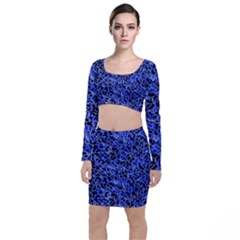 Texture Structure Electric Blue Long Sleeve Crop Top & Bodycon Skirt Set