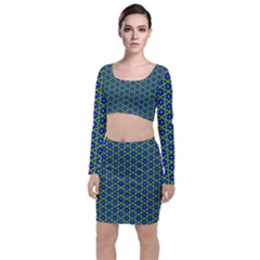 Texture Background Pattern Long Sleeve Crop Top & Bodycon Skirt Set