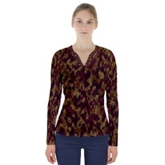 Camouflage Tarn Forest Texture V Neck Long Sleeve Top