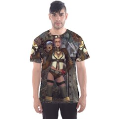 Steampunk, Steampunk Women With Clocks And Gears Men s Sports Mesh Tee