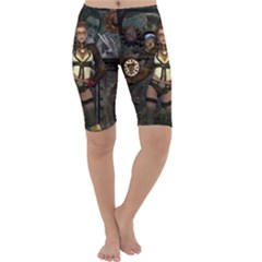 Steampunk, Steampunk Women With Clocks And Gears Cropped Leggings