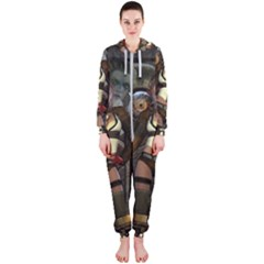 Steampunk, Steampunk Women With Clocks And Gears Hooded Jumpsuit (ladies)