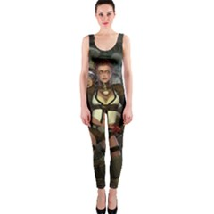 Steampunk, Steampunk Women With Clocks And Gears Onepiece Catsuit