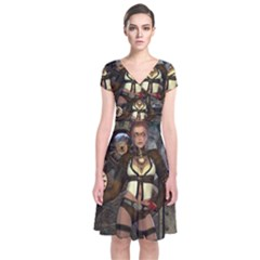 Steampunk, Steampunk Women With Clocks And Gears Short Sleeve Front Wrap Dress