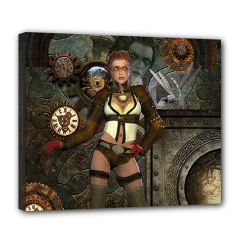 Steampunk, Steampunk Women With Clocks And Gears Deluxe Canvas 24  X 20