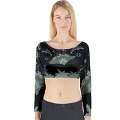 Surfboard With Dolphin, Flowers, Palm And Turtle Long Sleeve Crop Top