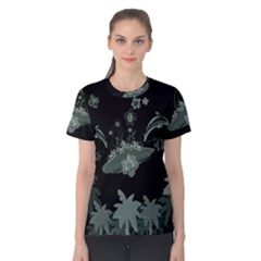 Surfboard With Dolphin, Flowers, Palm And Turtle Women s Cotton Tee