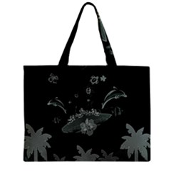 Surfboard With Dolphin, Flowers, Palm And Turtle Mini Tote Bag