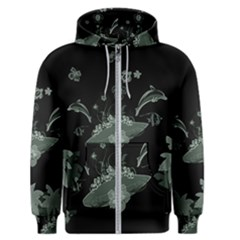 Surfboard With Dolphin, Flowers, Palm And Turtle Men s Zipper Hoodie