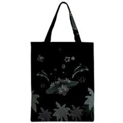 Surfboard With Dolphin, Flowers, Palm And Turtle Zipper Classic Tote Bag