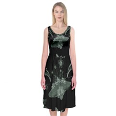 Surfboard With Dolphin, Flowers, Palm And Turtle Midi Sleeveless Dress